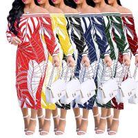 vestido de moda de mujer de europa al por mayor-Europa y los Estados Unidos palabra sexy hombro de la moda de las mujeres vestido estampado de manga larga falda envuelto vestido de pecho