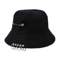 av kızı toptan satış-Kova Şapka Unisex Katlanır Avcılık Balıkçı Açık Kap Serin Kız Erkek Demir Halka Balıkçı Hiphop Şapka Katı Açık Pamuk Sunhat