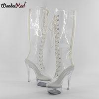8527ba8c46090 Wonderheel Hot Extreme high heel women pvc appr.15cm stilleto heels with  platform lace up knee high boots sexy fetish boots