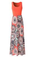 цветочные платья сверху оптовых-Zattcas Womens Summer Contrast Sleeveless Tank Top Floral Print Maxi Dress