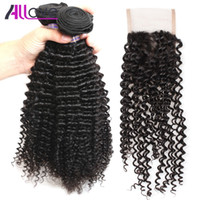 Wholesale best kinky straight hair weave for sale - Group buy Best A Brazilian Hair Kinky Curly with Lace Closure Malaysian Straight Closure Peruvian Hair With Closure