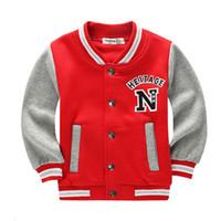 vestes pour garçons achat en gros de-École Baseball manteaux pour étudiants garçons filles printemps veste enfants automne sport basket vêtements de course pour enfants