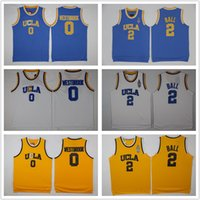 ingrosso pullover giallo di pallacanestro-NCAA UCLA Bruins Jersey 2 Lonzo Ball 0 Russell Westbrook 42 Kevin Love Reggie Miller blu bianco giallo Stitched College Basketball Maglie