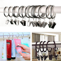 Wholesale window curtain grommet - High Quality Polished stainless steel Ball Shower Curtain Rings clips Curtain Hooks Multipurpose Window Metal Drapery Curtain Accessories