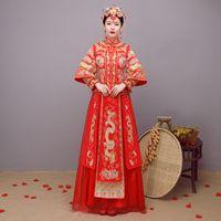 fantasia de fobia vermelha venda por atacado-Vestido de casamento da noiva Traje de estilo tradicional chinês Phoenix cheongsam Bordado vestuário De luxo antigo Royal Red Qipao vestido
