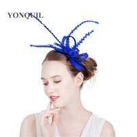 Wholesale woman elegant hair accessories - 21Colors Elegant women feather headband headpiece sinamay wedding fascinator on hair combs hair accessories races church headwear SYF182