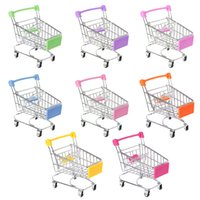 Wholesale supermarket trolleys mini for sale - Group buy Mini Trolley Toy Supermarket Utility Carts Storage Folding Shopping Cart Basket m18