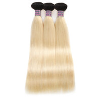 Wholesale top selling human hair extensions for sale - Group buy Top Selling Brazilian Hair T1b Silky Straight Hair Bundles Blonde Color Good A Malaysian Peruvian Virgin Human Hair Extensions