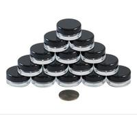 3g parafusos venda por atacado-O frasco cosmético redondo claro de alta qualidade de 3G / 3ML range com as tampas pretas do tampão de parafuso e a garrafa pequena pequena de 3g