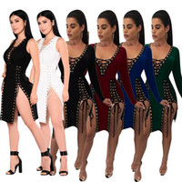 Wholesale free midi - 2018 Summer Sleeveless Midi Bodycon Dress Backless Sexy Women Dress Club Wear Elegant Mesh Party Dresses Free Shipping