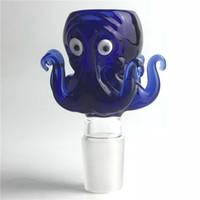 красочный осьминог оптовых-14 мм 18 мм чаша стекло осьминог стиль толстые Пирекс стеклянные чаши с красочными синий табак трава воды Бонг чаша кусок для курения