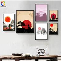 zen gemälde großhandel-Japanische Tinte Leinwand Kunstdruck Poster, Zen Wandgemälde für Wohnzimmer Dekoration Wohnkultur