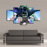 komik sanat batman toptan satış-Comic Batman 5 Parça Tuval Baskılar Duvar Sanatı Yağlıboya Ev Dekor / (Çerçevesiz / Çerçeveli)
