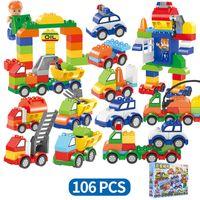 Wholesale bricks blocks set resale online - 106pcs set Cars Building Blocks digital train car kids toys bricks Educational Intelligence Safe Party Favor AAA1273