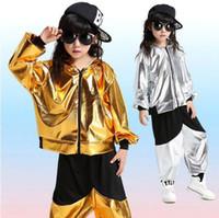 ingrosso vestiti di ballo di hip hop dei ragazzi-Ragazze Ragazzi Oro Argento Sala da ballo Jazz Hip Hop Concorso di danza Costume Abbigliamento per bambini Abbigliamento con cappuccio Camicia Top Pantaloni da ballo