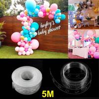 atar globos al por mayor-5m Globo Arco Guirnalda Franja de decoración Kit Balloon Tape Strip 16ft Tying Tool Ballon Dot Pegamento Fácil Globos Nudo empate