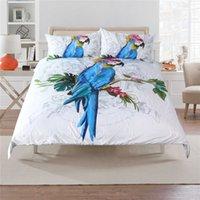 tamanho do papagaio venda por atacado-Frete grátis Tropical Monstera arara papagaio padrão de cama conjunto de edredão colcha com 2 fronha Gêmeo completo Rainha king size