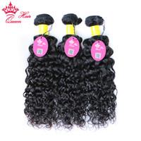 natürliche menschliche haarfirma großhandel-Queen Hair Company Peruanische Wasserwelle 3 Bundles Deal 100% Natürliches Menschenhaar Spinnt Reines Haar Bundles Können Länge 10
