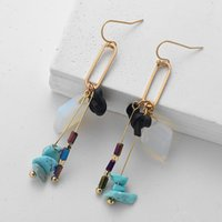 Wholesale long stone drop earrings - Bow Natural Stone Drop Long Section of High-end Earrings Female Fashion Personality Jewelry Accessori