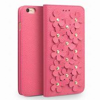casos da flor de cerejeira do iphone venda por atacado-Agradável flor de cerejeira mulheres capa de couro para iphone6s plus 5.5 polegadas, moda feminina flip capa para iphone6 6 s 4.7 polegadas com titular do cartão