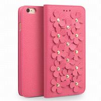 cover iphone frauen großhandel-Nice Cherry Blossom Damen Ledertasche für iPhone6S plus 5.5 Zoll, Damenmode Flip Cover für iPhone6 6S 4.7 Zoll mit Kartenhalter