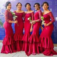 uzun kırmızı gelinin elbisesi ruffle toptan satış-Koyu Kırmızı Uzun Gelinlik Modelleri Portre Illusion 3/4 Uzun Kollu Kristaller ile Ruffles Onur Hizmetçi Parti Elbiseler 2018 Sıcak Satış