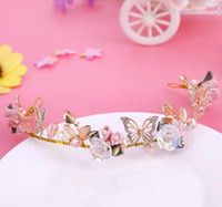 Wholesale butterfly hair comb wedding online - Bridal ceramic Butterfly Hair Band headwear single color optional head flower wedding accessories
