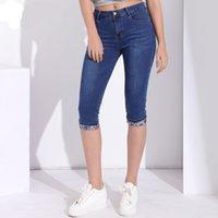 joelho comprimento denim capris venda por atacado-Verão Skinny Jeans Capris Mulheres Estiramento Na Altura Do Joelho Denim Calças de Cintura Alta Mulheres Jeans Plus Size Feminino Jean Curto para a Mulher