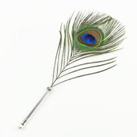 plumas de pavo real de metal al por mayor-Creative Craft Vintage Feather bolígrafo Vintage tallado de acero inoxidable pluma Firma Regalo Peacock Feather