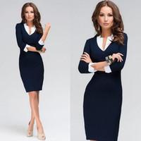 yaka kalemi toptan satış-Sıcak Satmak Yaz Ofis Lady Zarif Renk Blok Kalem V Yaka Boyun Diz Boyu Kılıf kadın elbise