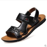 Wholesale First Sewing - Free shipping 2018 New Summer first layer of leather casual men's sandals men's sandals open toe sleeve breathable beach shoes leather shoes