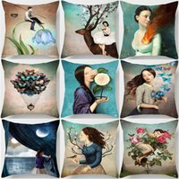 Wholesale Night Light Pillows - Christian Surreal Fantasy Paintings Cushion Cover Butterflies Flowers Birds Night Moon Girl Cushion Covers Sofa Linen Cotton Pillow Case