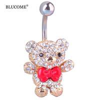urso kawaii venda por atacado-Red Bow Tie Pequeno Urso Umbigo Umbigo Anéis de Aço Cirúrgico 316L Kawaii Piercing Para As Mulheres 14G 1.6mm Bar Sexy Jóia Do Corpo