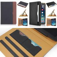 tampa do cartão da porcelana venda por atacado-Luxo Tan Soft Leather Wallet Suporte Flip Case Tampa Inteligente Com Slot Para Cartão para o Novo iPad 9.7 2017 2018 Air 2 3 4 5 6 7 Air2 Pro 10.5 Mini