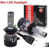 Wholesale audi license plate light resale online - 1 Set H7 W LM Mini LED Headlight Small Volume Size CSP Chips Turbo Fan Pure White K Driving Front Lamps Bulbs Easy Installation