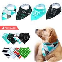 bandana scarf dog collar toptan satış-4 adet Köpek Bandana Önlüğü Eşarp Pamuk Pet Köpekler Için Büyük Ahşap Damat Aksesuarları Yaka Bandaj Büyük Pet Moda Tasarım