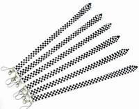 chaveiro quadrado branco venda por atacado-branco preto coloriu o suporte de KeyChain do cartão da identificação do telefone móvel da correia