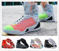 gewebter schuhverkauf großhandel-Preiswerter Verkauf kobe 9 hohe spinnende BHM- / Ostern- / Weihnachtsbasketball-Schuhe für hochwertige Männer KB 9s Manntrainer Sport-Turnschuhe Größe 40-46
