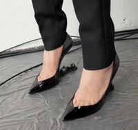 robes mary jane achat en gros de-2018 Noir Femmes En Cuir Verni Pompes Unique Appelle Talons Mary Jane Chaussures Ankle Strap Bout Pointu Robe De Mariage Chaussures Bottines