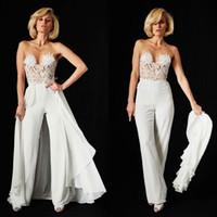 Wholesale Sexy Plus Size Jumpsuit Dress - Ines Di Santo Lace Jumpsuit Wedding Dresses Detachable Train 2018 Sexy Illusion Bodice Chiffon Backless Beach Bridal Gowns