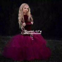 samt mieder großhandel-Lila 2018 Meerjungfrau Blumenmädchenkleider Samt Mieder Tüll Rock Mädchen Formelle Kleidung Tragen mit Applikationen Pageant Party Kommunion Kleider