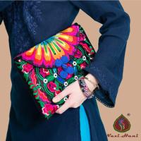ethnisch gestickte handtaschen großhandel-Neueste Vintage bestickte taschen für frauen Mode Schmetterling knopffarbe leinwand Frauen kupplungen Ethnische kleine handtaschen
