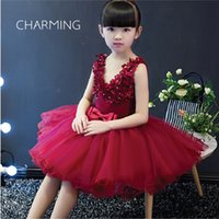 Wholesale Laser Costumes - flower girl dress Red princess dress costumes High-quality laser carving hand-beading process Wedding dress Puff skirt
