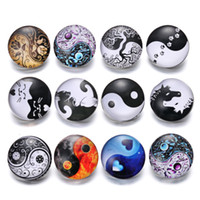 Wholesale american earth - Noosa Snap Jewelry Ying Yang Heaven and Earth 18mm Glass Snap Button Fit leather Snap Bracelet Watches Wholesale Chunks Buttons