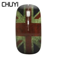 Wholesale usb flag resale online - CHUYI Cool British Flag Design Ghz Wireless Mouse USB DPI Optical Ultra Thin Mice Slim Computer Mause For PC Girl Laptop