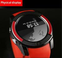 детские флеш-карты оптовых-V8 Smart Watch IPS HD экран круговой iwatch интеллектуальные часы с цифровой камерой SIM-карты/T-Flash карты 6 цветов