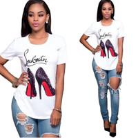 Wholesale L Shoes - White T Shirt Women Tops Fashion High Heel Shoes Letter Print Tshirt Women Shirts Summer Short Sleeve Tee Shirt Femme