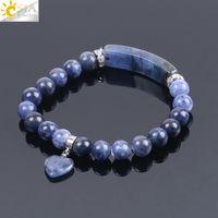 ingrosso cuore di pietra blu-CSJA Natural Stone Sodalite Bracciali per donna Uomo Love Heart Blue White Dot Beads Stretch Healing Buddista preghiera amicizia braccialetto F109