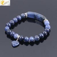 Wholesale bracelet for women blue stone for sale - Group buy CSJA Natural Stone Sodalite Bracelets for Women Men Love Heart Blue White Dot Beads Stretch Healing Buddhist Prayer Friendship Bracelet F109