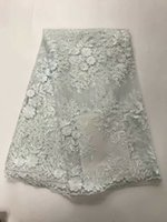 Wholesale embroidery white tulle fabric - Wholesale African Lace Fabric white French Net Embroidery flowers Tulle Lace Fabric For Nigerian party Dress